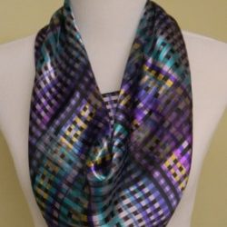 purple multi plaid scarf