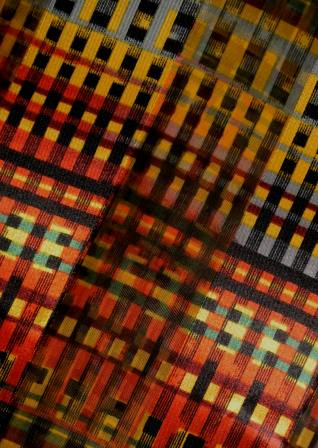 bright multi plaid scarf closeup
